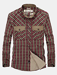 Men's Casual/Daily Simple Fall Shirt,Check Shirt Collar Long Sleeve Blue / Red / Green Cotton Medium