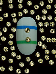100pcs 2mm rond rivets métalliques or avec la ligne de grain supérieur nail art décoration