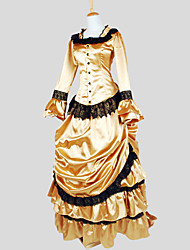 Outfits Gothic Lolita Victorian Cosplay Lolita Dress Golden Solid Long Sleeve Asymmetrical Top / Skirt For Women Charmeuse