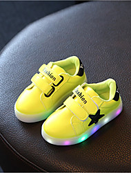 Girl's Athletic Shoes Spring Fall Winter Comfort PU Casual Flat Heel LED Yellow Pink White