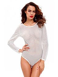 Women Teddy Nightwear,Polyester / Spandex Sheer Striped Bodysuit