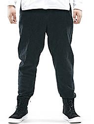 Hommes Grandes Tailles Ample Chino Pantalon,Vintage simple Sortie Décontracté / Quotidien Couleur Pleine Taille Normale Cordon lin