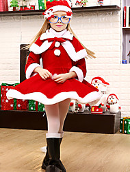 Cosplay Costumes Santa Suits Festival/Holiday Halloween Costumes Red / White Patchwork Dress / More Accessories Christmas Kid Terylene
