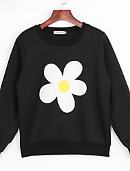 Women's Casual/Daily Vintage Regular Hoodies,Jacquard Black Round Neck Long Sleeve Polyester Fall Medium
