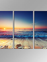 VISUAL STAR®3 panels Framed Wall Art Waves Painting on Canvas Beach Sunrise Landcape Canvas Print for Wall Decor