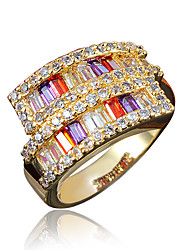 Gold Plated Mixed Color Zircon Wedding Ring for Women