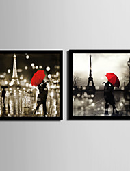 People / Architecture Framed Canvas / Framed Set Wall Art,PVC Black No Mat With Frame Wall Art
