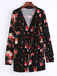 Women's Going out / Work Vintage / Simple Fall / Winter JacketsFloral Notch Lapel Long Sleeve Black Polyester