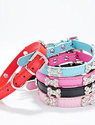 Cães Colarinho Retratável / Estroboscópio Sólido / Natureza e Paisagem / Osso / Strass Vermelho / Preto / Azul / Rosa Pele PU