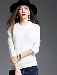 Mujer Regular Pullover Casual/Diario Simple,Un Color Escote Redondo Manga Larga Acrílico Invierno Grueso Microelástico