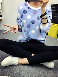 Women's Polka Dot Blue Pullover , Casual / Work Long Sleeve