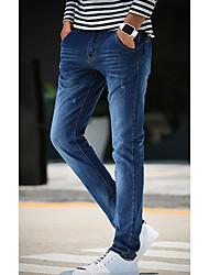 Hommes Slim Jeans Pantalon,Sexy simple Décontracté / Quotidien Imprimé Paillettes Taille Normale fermeture Éclair Coton Micro-élastique