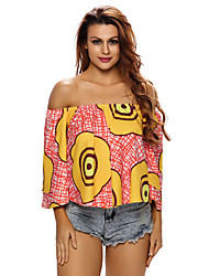 Women's Swirl Print Layered Sleeves Off Shoulder Top