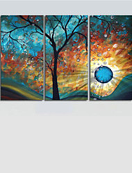 ручная роспись современный дерево солнце луна стены искусства украшения картина маслом на холсте 3шт / набор без рамки