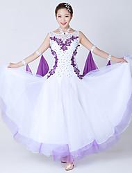 Danse de Salon Robes Femme Spectacle Elasthanne Tulle Fantaisie 1 Pièce Sans manche Robe