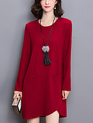Women's Plus Size / Casual/Daily Street chic Loose /Sweater Dress Solid Asymmetrical Red / Black Fall /Winter Cotton /Polyester