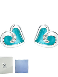 SILVERAGE Sterling Silver Maldives Blue Heart Earrings