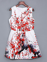 Women's Going out / Casual/Daily Street chic A Line / Sheath Dress,Print / Jacquard Round Neck Above Knee Red