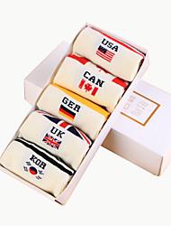 meias masculinas uma caixa de 5 / caixa de cinco pares de meias de algodão puro