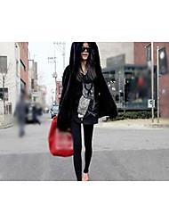 Women's Casual/Daily Simple Fur Coat,Solid Hooded Long Sleeve Fall Winter Black Faux Fur Medium