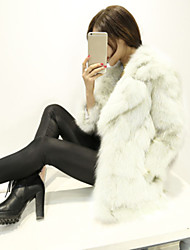 Women's Casual/Daily Simple Fur Coat,Solid Shirt Collar ¾ Sleeve Winter White / Gray Fox Fur Thick