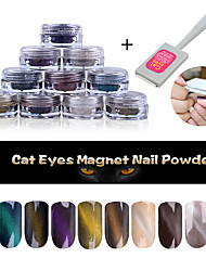 1g/box Cat Eye Effect Magic Mirror Powder UV Gel Polish Nail Art Magnet Glitter Pigment  Poland Manicure Eye Magnet Tool