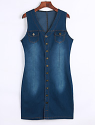 Women's Denim Button Down Sleeveless Dress