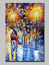 Hand Painted Lovers In The Rain Landscape Oil Painting On Canvas Modern Abstract Wall Art Picture For Home Decoration Ready To Hang