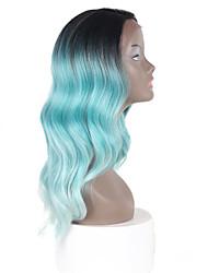 rendas sintética profundas invisível l parte perucas raiz preta com cor verde cabelo ombre ondas naturais