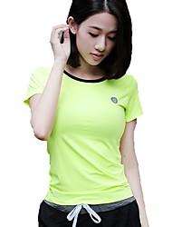 Laufen T-shirt Oberteile Damen Kurze Ärmel Atmungsaktiv Rasche Trocknung Polyester Elastan Yoga Übung & Fitness Laufen Sportbekleidung