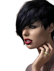 Short Asymmetric Srtraight Bobs Side Bang Synthetic Wigs