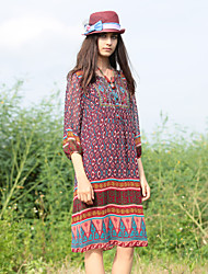 VINIKAWEN  Women's Casual/Daily Boho Sheath DressGeometric Round Neck Midi  Sleeve Red Polyester Fall Mid Rise Inelastic Medium