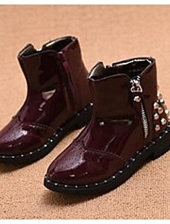 Girl's Boots Comfort Leatherette Casual Black Burgundy
