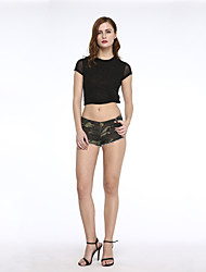 Women's Club High Waist Shorts Camouflage Jeans Show Thin Hot Pants