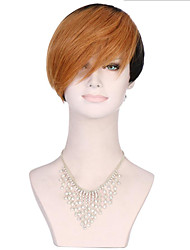 6A Synthetic Cosplay Wigs Women's Short Straight Black/Medium Auburn Wig Heat Resistant Fiber Wig