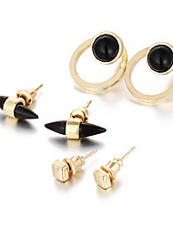 3 PCS/Set Europe Vinatge Fashion Gold Color Crystal Round Stone Stud Earrings For Women Punk Accessories Christmas Gift