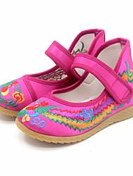 Girl's Flats Spring Fall Mary Jane Silk Casual Flat Heel Pink Red Fuchsia