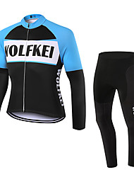 WOLFKEI Winter Thermal fleece Long Sleeve Cycling JerseyLong Tights Ropa Ciclismo Cycling Clothing Suits #WK68