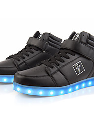 Men Running Shoes 2016 New Arrival LED Shoes High LED Light Luminous Shoes USB Charging High Top Basket Fashion Sneakers Black / White