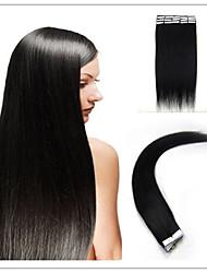 fita na extensão do cabelo humano 20pçs preto natural de Remy do brasileiro trama de pele reta virgem marrom