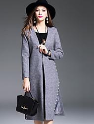Damen Solide Einfach Lässig/Alltäglich Mantel,Winter V-Ausschnitt Langarm Grau Dick Wolle / Polyester