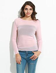 Damen Solide Sexy / Einfach Lässig/Alltäglich T-shirt,Rundhalsausschnitt Frühling / Herbst Langarm Rosa / Beige / Grün Polyester Dünn
