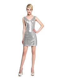 LAN TING BRIDE Longo Decote V Vestido de Madrinha - Vestido Convertível Brilho & Glitter Sem Mangas Tule Paetês