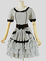 Uma-Peça/Vestidos Doce Princesa Cosplay Vestidos Lolita Branco Poás Manga Curta Longuete Vestido Para Feminino Algodão