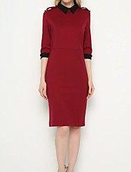 Women's Going out / Casual/Daily Simple / Cute Sheath Dress,Color Block Shirt Collar Knee-length ¾ Sleeve Red / Black Rayon / Polyester