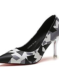 Women's Heels Spring Fall Comfort PU Casual Stiletto Heel Flower Black Blue Purple Red Walking