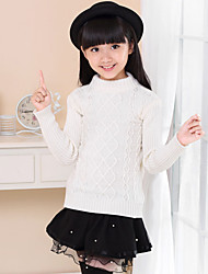 Cardigan For Girls Cotton Casual Solid Color Spring/Fall/Winter Going out/Casual/Daily Long Sleeve Turtleneck Sweatshirt Coat