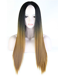 Ombre Brown Wigs Female Wig Ombre Light Brown Synthetic Wigs for Black Women Long Straight Hair Heat Resistant Cheap Synthetic Wigs