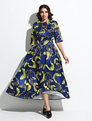 Women's Formal / Beach Fall / Winter Set SkirtPrint Shirt Collar  Length Sleeve Blue Polyester Opaque