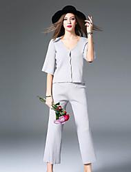 Damen Solide Einfach Lässig/Alltäglich T-shirt Rock Anzüge,V-Ausschnitt Herbst ¾-Arm Rosa / Grau Baumwolle / Elasthan